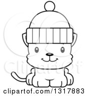 Animal Lineart Clipart Of A Cartoon Black And White Cute Happy Kitten Cat Wearing A Winter Hat Royalty Free Outline Vector Illustration
