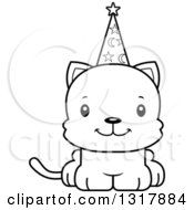 Animal Lineart Clipart Of A Cartoon Black And White Cute Happy Kitten Cat Wizard Royalty Free Outline Vector Illustration