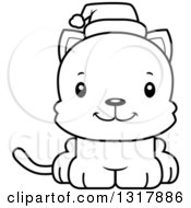 Animal Lineart Clipart Of A Cartoon Black And White Cute Happy Christmas Kitten Cat Wearing A Santa Hat Royalty Free Outline Vector Illustration