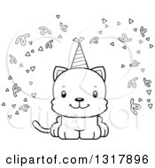Animal Lineart Clipart Of A Cartoon Black And White Cute Happy Party Kitten Cat Royalty Free Outline Vector Illustration