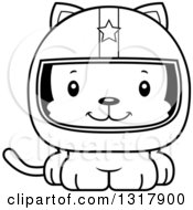 Animal Lineart Clipart Of A Cartoon Black And White Cute Happy Kitten Cat Race Car Driver Royalty Free Outline Vector Illustration