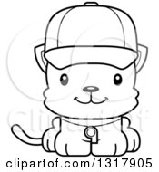 Animal Lineart Clipart Of A Cartoon Black And White Cute Happy Kitten Cat Coach Royalty Free Outline Vector Illustration