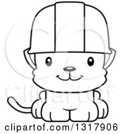 Cartoon Black And White Cute Happy Kitten Cat Construction Worker