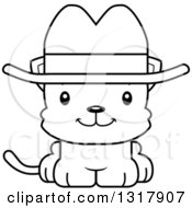 Animal Lineart Clipart Of A Cartoon Black And White Cute Happy Kitten Cat Cowboy Royalty Free Outline Vector Illustration