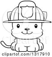 Animal Lineart Clipart Of A Cartoon Black And White Cute Happy Kitten Cat Fireman Royalty Free Outline Vector Illustration