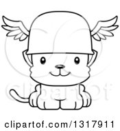 Animal Lineart Clipart Of A Cartoon Black And White Cute Happy Kitten Cat Hermes Royalty Free Outline Vector Illustration