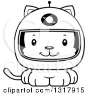 Animal Lineart Clipart Of A Cartoon Black And White Cute Happy Kitten Cat Astronaut Royalty Free Outline Vector Illustration