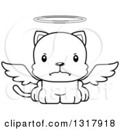 Animal Lineart Clipart Of A Cartoon Black And White Cute Mad Kitten Cat Angel Royalty Free Outline Vector Illustration