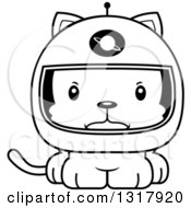 Animal Lineart Clipart Of A Cartoon Black And White Cute Mad Kitten Cat Astronaut Royalty Free Outline Vector Illustration