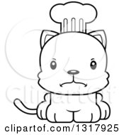 Animal Lineart Clipart Of A Cartoon Black And White Cute Mad Kitten Cat Chef Royalty Free Outline Vector Illustration