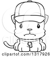 Animal Lineart Clipart Of A Cartoon Black And White Cute Mad Kitten Cat Coach Royalty Free Outline Vector Illustration