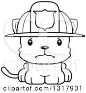 Animal Lineart Clipart Of A Cartoon Black And White Cute Mad Kitten Cat Fireman Royalty Free Outline Vector Illustration