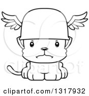 Animal Lineart Clipart Of A Cartoon Black And White Cute Mad Kitten Cat Hermes Royalty Free Outline Vector Illustration