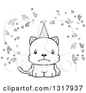 Animal Lineart Clipart Of A Cartoon Black And White Cute Mad Party Kitten Cat Royalty Free Outline Vector Illustration