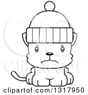 Animal Lineart Clipart Of A Cartoon Black And White Cute Mad Kitten Cat Wearing A Winter Hat Royalty Free Outline Vector Illustration