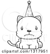 Animal Lineart Clipart Of A Cartoon Black And White Cute Mad Kitten Cat Wizard Royalty Free Outline Vector Illustration