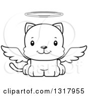Animal Lineart Clipart Of A Cartoon Black And White Cute Happy Kitten Cat Angel Royalty Free Outline Vector Illustration