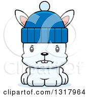Animal Clipart Of A Cartoon Cute Mad White Rabbit Wearing A Winter Hat Royalty Free Vector Illustration