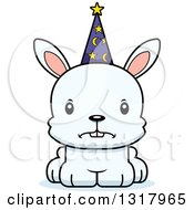 Animal Clipart Of A Cartoon Cute Mad White Rabbit Wizard Royalty Free Vector Illustration