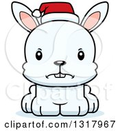 Animal Clipart Of A Cartoon Cute Mad White Christmas Rabbit Wearing A Sant Hat Royalty Free Vector Illustration