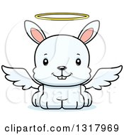Animal Clipart Of A Cartoon Cute Happy White Rabbit Angel Royalty Free Vector Illustration
