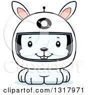 Animal Clipart Of A Cartoon Cute Happy White Rabbit Astronaut Royalty Free Vector Illustration