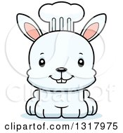 Animal Clipart Of A Cartoon Cute Happy White Rabbit Chef Royalty Free Vector Illustration