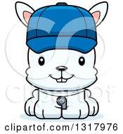 Animal Clipart Of A Cartoon Cute Happy White Rabbit Coach Royalty Free Vector Illustration