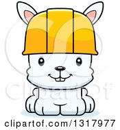 Cartoon Cute Happy White Rabbit Construction Worker