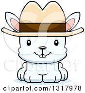 Animal Clipart Of A Cartoon Cute Happy White Rabbit Cowboy Royalty Free Vector Illustration