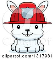 Animal Clipart Of A Cartoon Cute Happy White Rabbit Fireman Royalty Free Vector Illustration