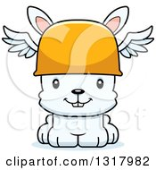 Animal Clipart Of A Cartoon Cute Happy White Rabbit Hermes Royalty Free Vector Illustration