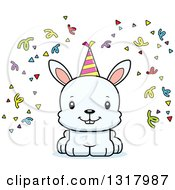 Animal Clipart Of A Cartoon Cute Happy White Party Rabbit Royalty Free Vector Illustration