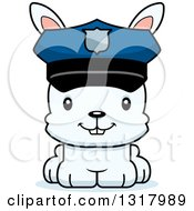 Animal Clipart Of A Cartoon Cute Happy White Rabbit Police Officer Royalty Free Vector Illustration