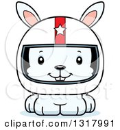Animal Clipart Of A Cartoon Cute Happy White Rabbit Race Car Driver Royalty Free Vector Illustration