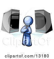 Blue Business Man Standing In Front Of Servers Clipart Illustration