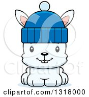 Animal Clipart Of A Cartoon Cute Happy White Rabbit Wearing A Winter Hat Royalty Free Vector Illustration