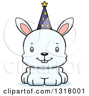 Animal Clipart Of A Cartoon Cute Happy White Rabbit Wizard Royalty Free Vector Illustration