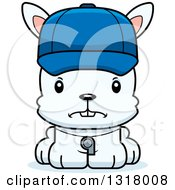 Animal Clipart Of A Cartoon Cute Mad White Rabbit Coach Royalty Free Vector Illustration