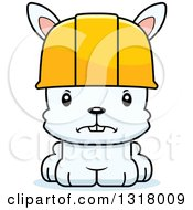 Cartoon Cute Mad White Rabbit Construction Worker