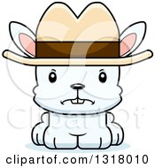 Animal Clipart Of A Cartoon Cute Mad White Rabbit Cowboy Royalty Free Vector Illustration