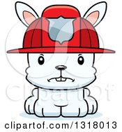 Animal Clipart Of A Cartoon Cute Mad White Rabbit Fireman Royalty Free Vector Illustration