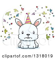 Animal Clipart Of A Cartoon Cute Mad White Party Rabbit Royalty Free Vector Illustration