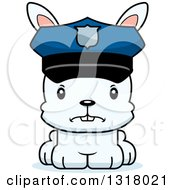 Animal Clipart Of A Cartoon Cute Mad White Rabbit Police Officer Royalty Free Vector Illustration