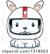 Animal Clipart Of A Cartoon Cute Mad White Rabbit Race Car Driver Royalty Free Vector Illustration