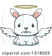 Animal Clipart Of A Cartoon Cute Mad White Rabbit Angel Royalty Free Vector Illustration