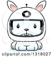 Animal Clipart Of A Cartoon Cute Mad White Rabbit Astronaut Royalty Free Vector Illustration