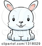 Animal Clipart Of A Cartoon Cute Happy White Rabbit Royalty Free Vector Illustration