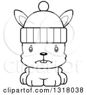 Animal Lineart Clipart Of A Cartoon Black And White Cute Mad Rabbit Wearing A Winter Hat Royalty Free Outline Vector Illustration