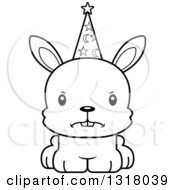 Animal Lineart Clipart Of A Cartoon Black And White Cute Mad Rabbit Wizard Royalty Free Outline Vector Illustration